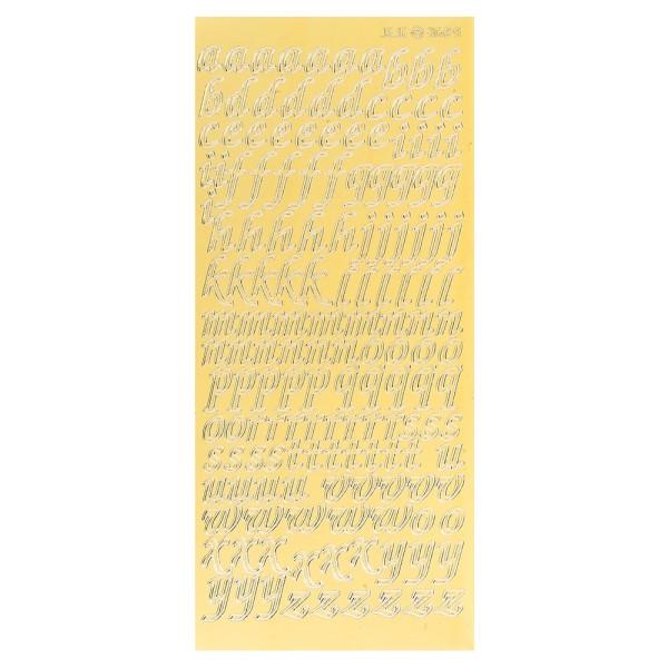 Sticker, Alphabet 2 Kleinbuchstaben, Spiegelfolie gold