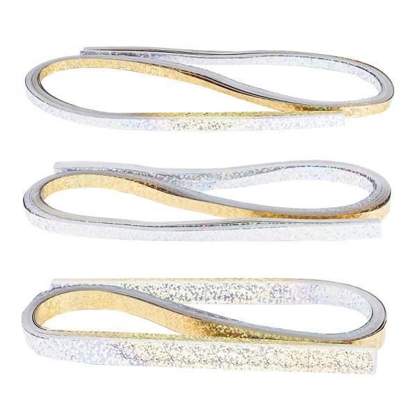 Folienstreifen, 3 Größen (5mm, 7mm, 10mm), 54cm lang, Holografie, silber & gold, 150 Stück