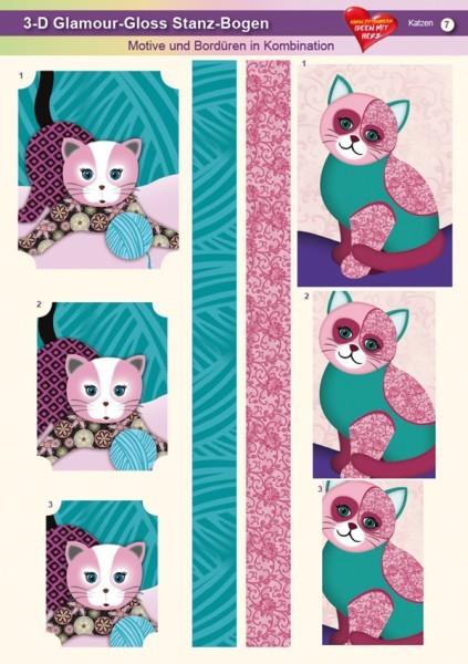 3-D GlamourGloss Bogen, Katzen, DIN A4, Motiv 7