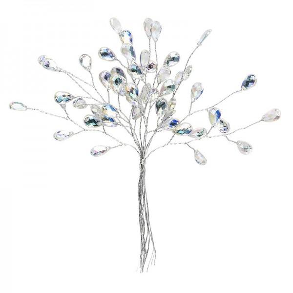 Deko-Kristallzweige, Tropfen, 14cm, silber hinterlegt, klar, irisierend, 10 Stück