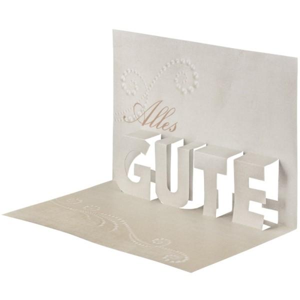 """Pop-Up-Grußkarten-Einleger, 11 x 16 cm, """"Alles Gute"""", creme"""