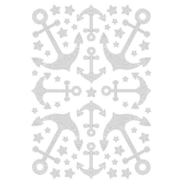 Bügelstrass-Design, DIN A4, klar, Anker