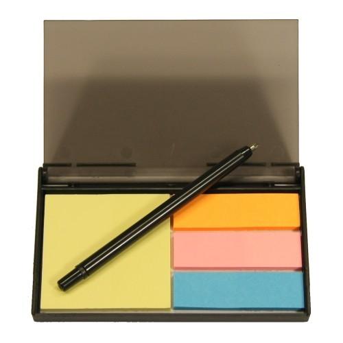 Kunststoff-Etui mit Haftzetteln und Minikugelschreiber, 8,5 x 5,5 cm