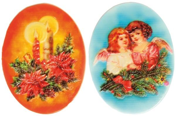 Wachsornamente, oval, 2er Set, Weihnachtsmotive