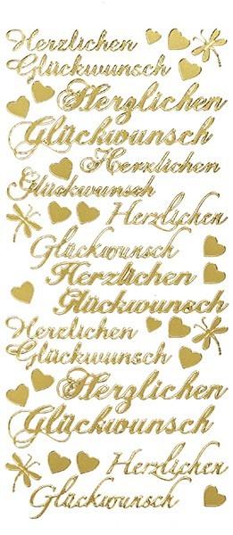 Sticker, Herzlichen Glückwunsch, Perlmuttfolie, gold