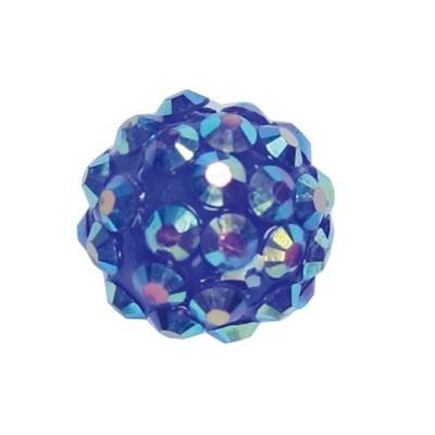 Kristall-Perlen, Ø14 mm, 10 Stück, blau-irisierend
