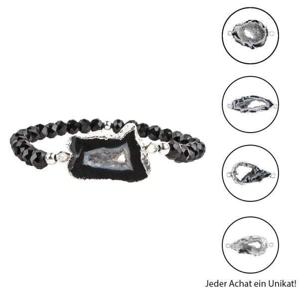 DIY-Schmuckarmband, Achat, schwarz mit Silberumrandung, 39-teilig