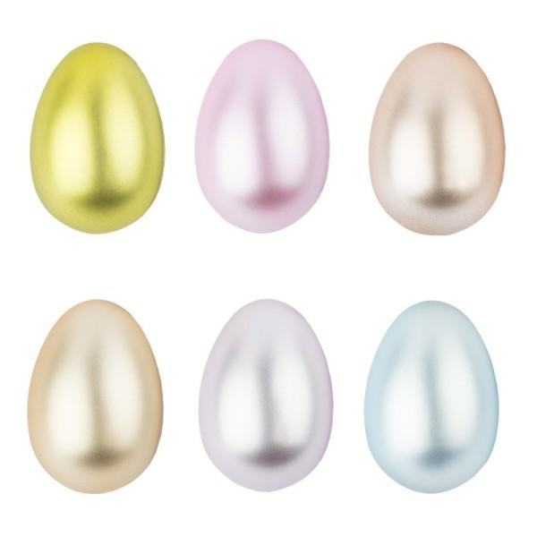Kunststoff-Eier mit Loch, 6cm hoch, Ø 4cm, metallic-matt, 12 Stück
