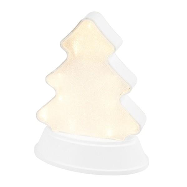 LED-Relaxleuchte, Tannenbaum, 14,5cm x 12cm, Diamant-Lichteffekt-Folie, 13 LEDs, warmweiß, weiß