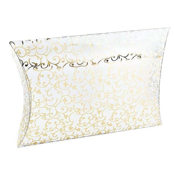 Kissentaschen transparent, 16,2cm x 13,5cm x 3,3cm, Goldfolienveredelung, 5 Stück