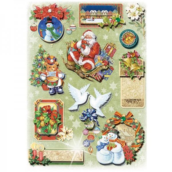 3-D Stickerbogen, Weihnachten 4, 19 x 26 cm