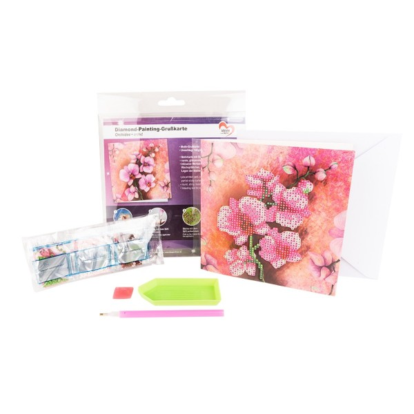 Diamond-Painting-Grußkarte, Orchidee, 16cm x 16cm, 370g/m², inkl. Umschlag & Werkzeug