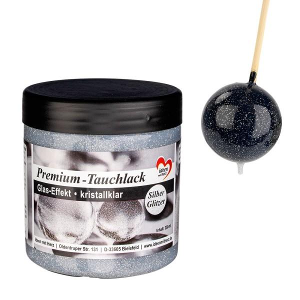 Premium-Tauchlack, Glas-Effekt, kristallklar, mit Silber-Glitzer, 250ml