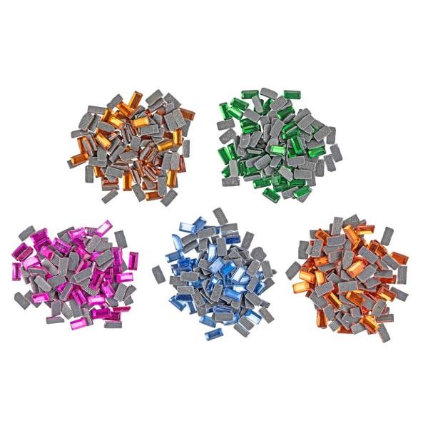 Glas-Bügelsteine, rechteckig, 2mm x 4mm, 5 Farben, 500 Stk.