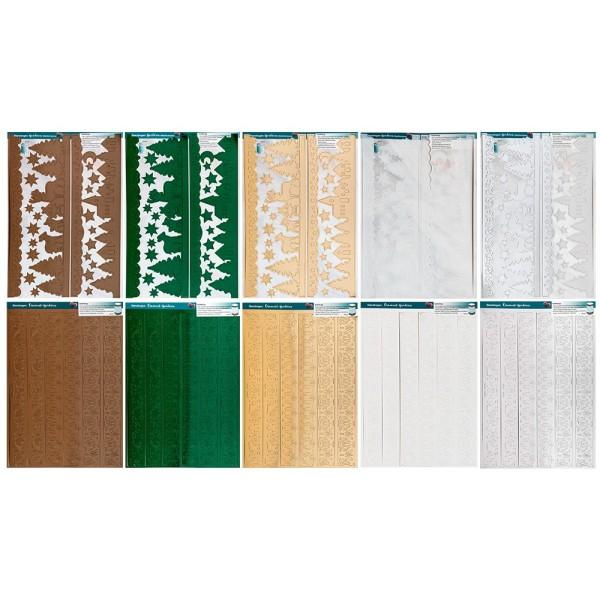 Stanzbogen, Bordüren, DIN A4, 300 g/m², 2 versch. Bogen, 5 versch. Veredelungen, 10 Bogen