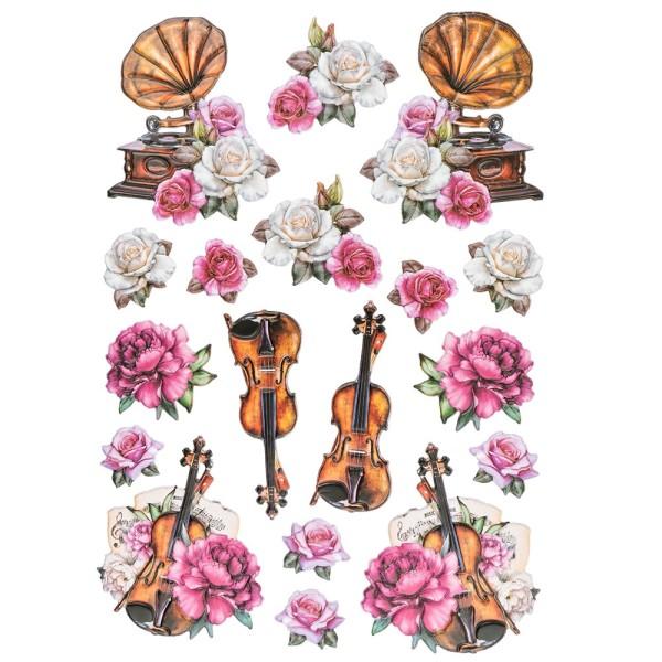 3-D Relief-Sticker, Vintage-Rosengrüße 4, verschiedene Größen, selbstklebend