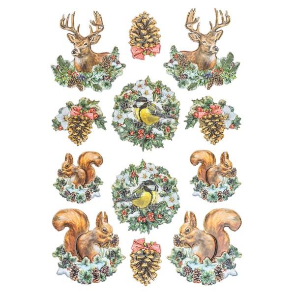 3-D Relief-Sticker, Nostalgie-Weihnachten 5, versch. Größen, selbstklebend