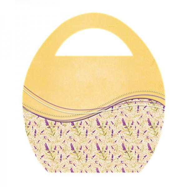 """Deko-Bild """"Ei-Tasche mit Blumen-Schwung"""", mit Griff, 20x23cm, gelb, 2 Stück"""
