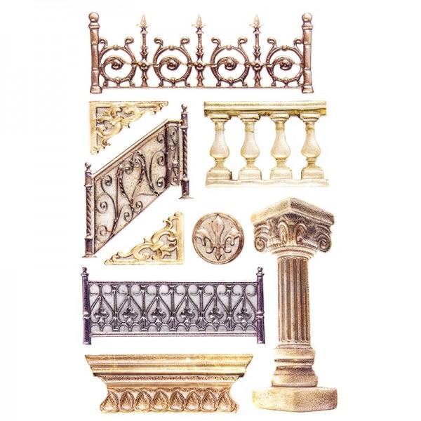 Relief-Sticker, Säulen & Zäune, 15,5cm x 10,5cm