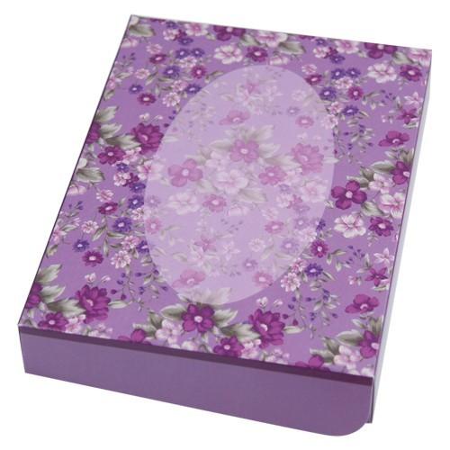 Geschenkbox, B6, Ovalrahmen & Blüten, violett