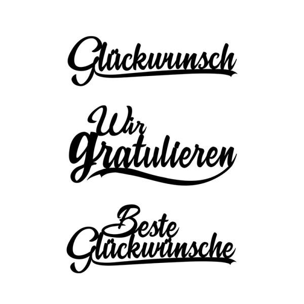Stanzschablonen, Schriften, Glückwünsche 1, 2,4cm bis 8,3 cm, 3 Stück