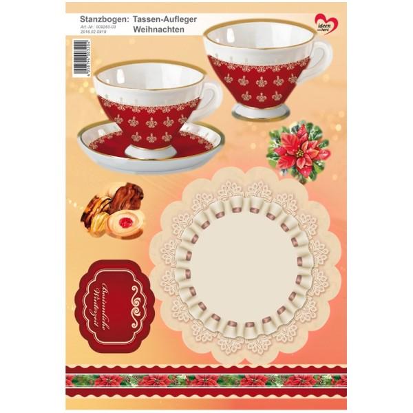 Stanzbogen, Tassen-Aufleger Weihnachten, DIN A4, rot