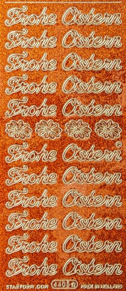 "Microglitter-Sticker, ""Frohe Ostern"", orange"