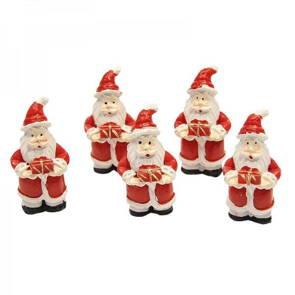 Deko-Weihnachtsmänner mit Geschenk, 5 x 2,5 cm, 5er Set