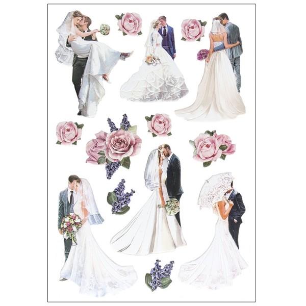 3-D Relief-Sticker, Brautpaare, verschiedene Größen, selbstklebend