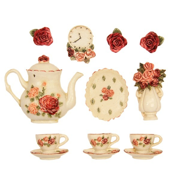 """Relief-Küchendeko """"Rose"""", 10er Set"""