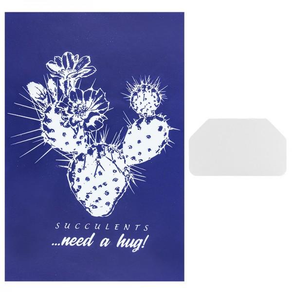 Siebdruckschablone Kaktus, 32,5cm x 22,5cm, selbstklebend, inkl. Rakel