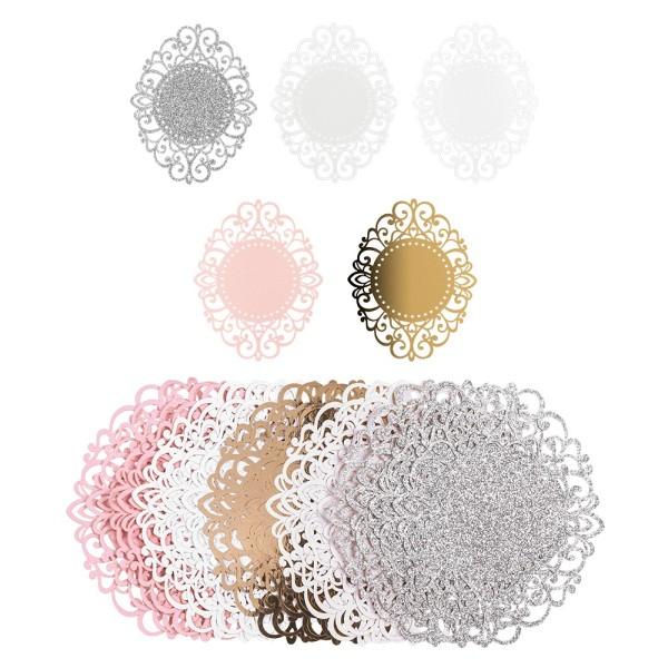 Laser-Kartenaufleger, Zierdeckchen, Ornament 9, 13,2cm x 10,4cm, 220 g/m², 5 Farbtöne, 20 Stück