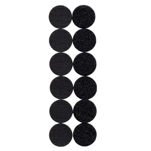 Klettpunkte, selbstklebend, Ø25mm, schwarz, 6 Stück