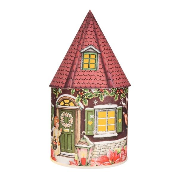 LED-Lichthaus, Nostalgische Weihnacht 4, Ø 11cm, 22cm hoch, inkl. Draht-Lichterkette, mit Timer