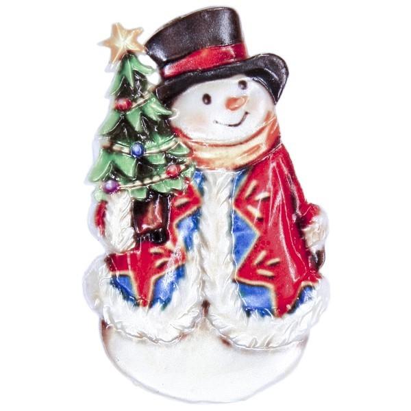 Wachsornament Schneemann mit Weihnachtsbaum