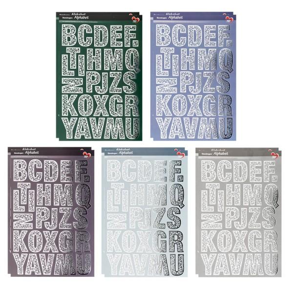 Stanzbogen, Alphabet, DIN A4, 5 verschiedene Farben, silberne Folienveredelung, 10 Bogen