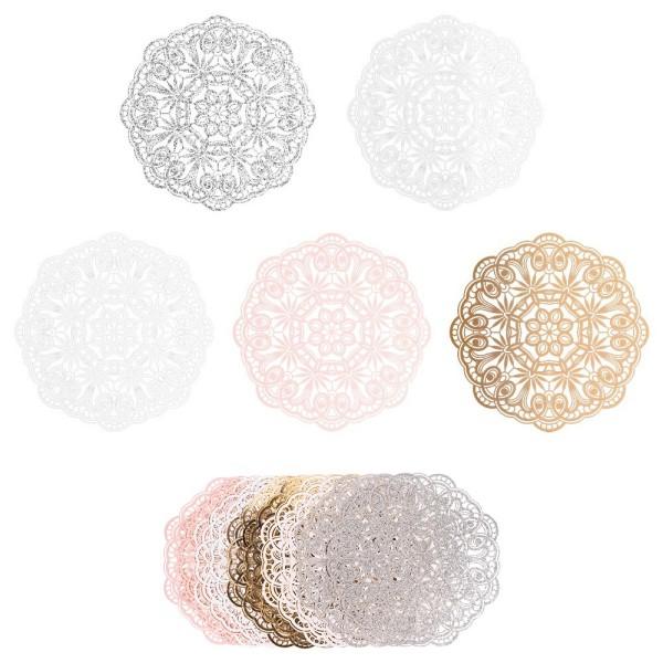 XL-Laser-Ornamente, Zierdeckchen 1, verschiedene Farben, Ø 20cm, 10 Stück