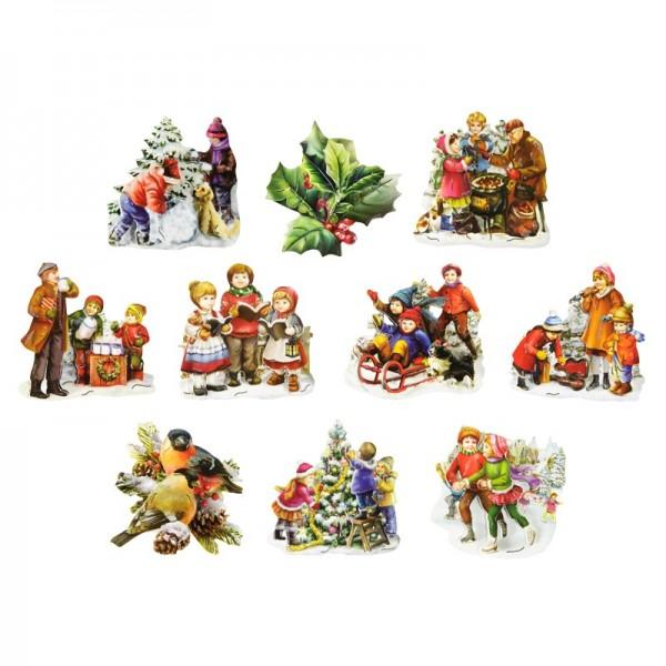 3-D Motive, Kinder im Schnee, Gold-Gravur, 7,5-8,5cm, 10 Motive