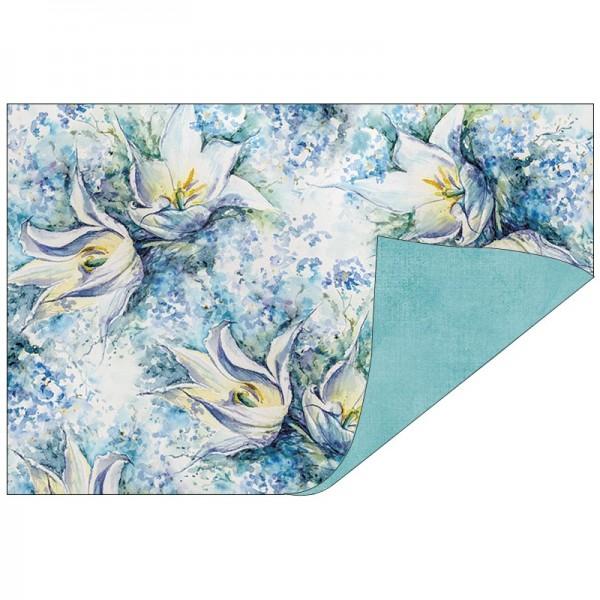 Faltpapiere, Duo-Design 42, 10cm x 15cm, Blüten/blau, 50 Stück