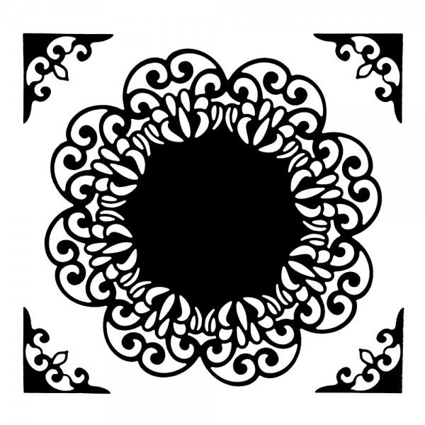 Stanzschablonen, Zierdeckchen mit Eckornamenten 2, 5 Stück