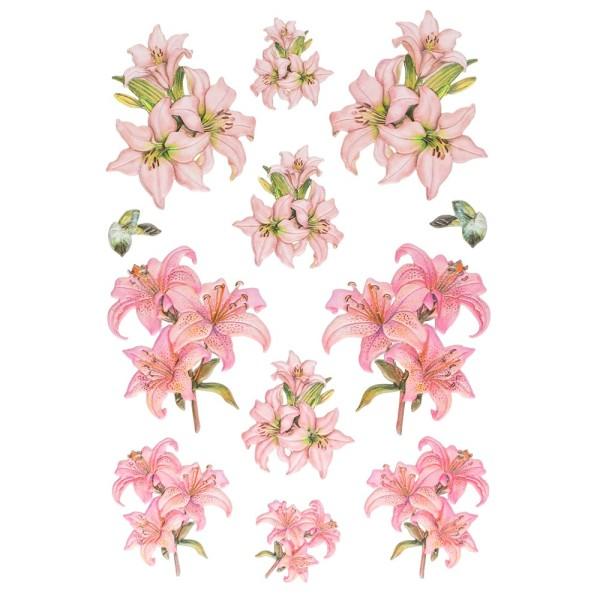 3-D Relief-Sticker, Elegante Lilien 5, 21cm x 30cm, verschiedene Größen, selbstklebend