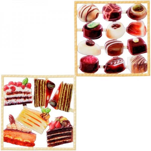 Wachsornament-Platten, farbig, Kuchen & Pralinen, 10x10cm, 2 Stück