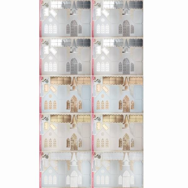 Stanzbogen, Kirche, DIN A4, 300 g/m², Perlmuttpapier, 4 versch. Veredelungen, 10 Bogen