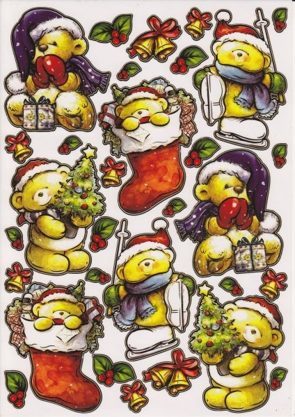 Ultra Gloss Sticker, DIN A4 Bogen, Weihnachtsteddies