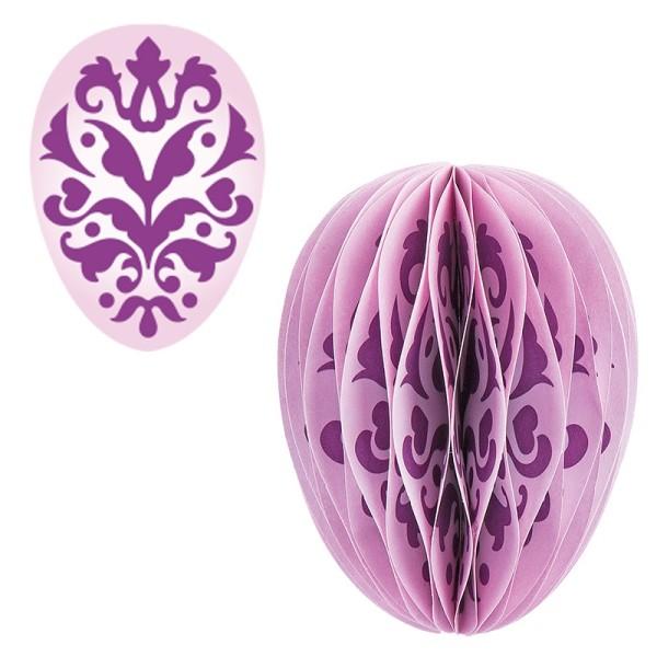 Waben-Stanzteile, Osterei, Ornament flieder/rosa, 5,5cm x 7,5cm, 100 Stück