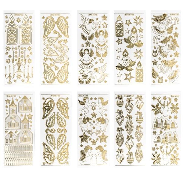 Gravur-Stickerbogen, Winter/Weihnacht 2, 10cm x 23cm, transparent/gold, 10 Bogen