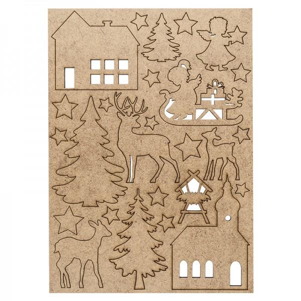 Holzmotive, Winter & Weihnachten 1, DIN-A4-Bogen mit 26 Motiven