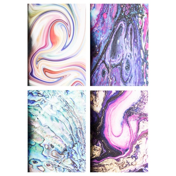 Motiv-Spiegelkarton, Farbenspiel, 4 verschiedene Designs, DIN A4, 20 Bogen