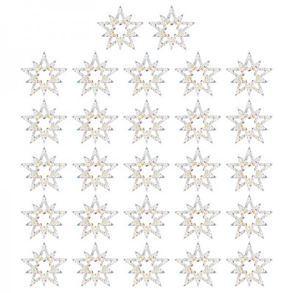 Kristallkunst-Schmucksteine, Stern, Ø 3,2cm, transparent, klar, irisierend, 27 Stück