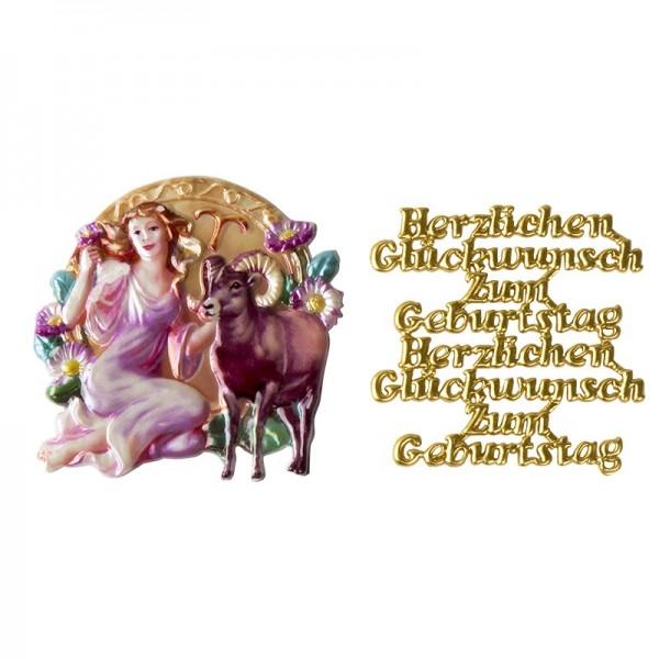 Wachsornamente, Sternzeichen Widder & Herzlichen Glückwunsch, 2 Stück